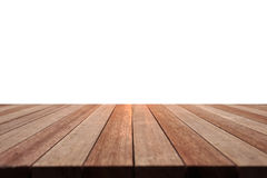 Empty top of wooden table or counter isolated on white backgroun Stock Photo