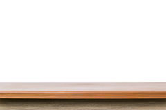 Empty top of wooden table or counter isolated on white backgroun Royalty Free Stock Photography