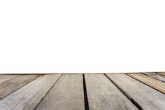 Empty top of wooden table or counter isolated on white backgroun Stock Photography