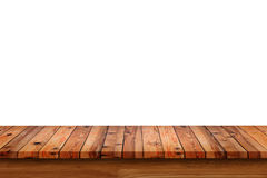 Empty top of wooden table or counter isolated on white background.