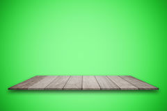 Empty top wooden table and green gradient background. for product display stock photos