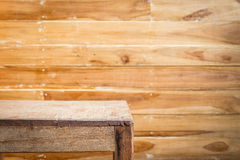 Empty top wooden table and wooden wall background Stock Photos