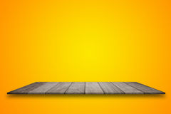 Empty top wooden table and yellow gradient background. for product display.  Stock Photography