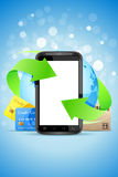 Empty Touch Phone with Earth Globe Royalty Free Stock Photo