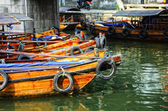 Empty Tourist Boats Stock Photo