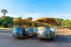 Empty tourist busses in Sukhothai historical park. Stock Images