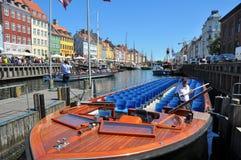 Empty tourist's boat in nyhavn, copenhagen Stock Image