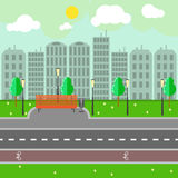 Empty town landscape and road on street vector illustration. Stock Photos