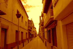 Empty town street at sunrise,Spain Royalty Free Stock Photo