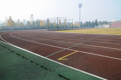 Empty tracks of sports field Stock Photo