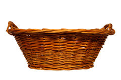 Empty Traditional Rustic Wicker Basket Isolated Stock Images