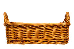 Empty Traditional Rustic Wicker Basket Isolated stock photography