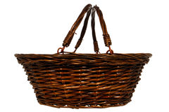 Empty Traditional Rustic Wicker Basket Isolated Stock Photo