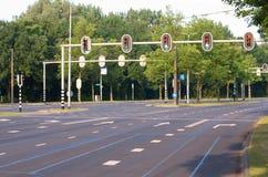 Empty traffic intersection Stock Photos