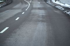 An empty traffic route in winter, special perspective royalty free stock photography