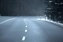 An empty traffic route in winter, special perspective stock image