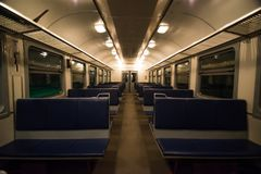 An empty train car before a long trip stock image