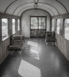 Empty train inside, no people stock image