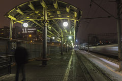 Empty train platform in railway station. At night Stock Photos