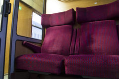 Empty train seats ,first class, in Bulgaria Royalty Free Stock Photography
