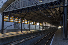 Empty train station. At dawn Royalty Free Stock Photos