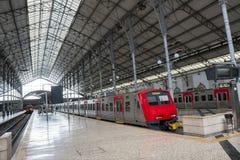 Empty train station under sunshine royalty free stock photo