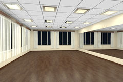 Empty training dance-hall at night with yellow walls and dark wo Royalty Free Stock Photography