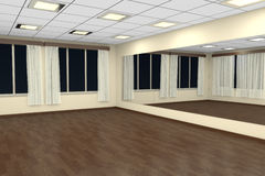 Empty training dance-hall at night with yellow walls and dark wo Stock Image