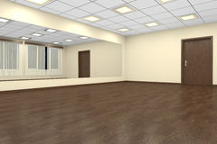Empty training dance-hall at night with yellow walls and dark wo Royalty Free Stock Image