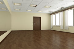Empty training dance-hall with yellow walls and dark wooden floo Stock Images