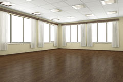 Empty training dance-hall with yellow walls and dark wooden floo Royalty Free Stock Photo
