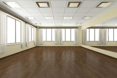 Empty training dance-hall with yellow walls and dark wooden floo Stock Photos
