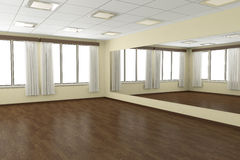 Empty training dance-hall with yellow walls Royalty Free Stock Photography