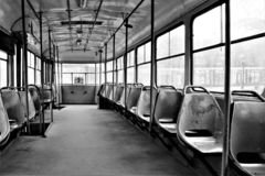 Empty tram in black and white. stock photography