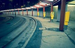 Empty tram stop Stock Image