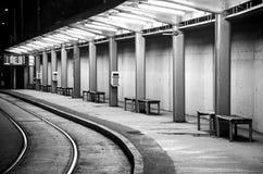 Empty tram stop Stock Photos