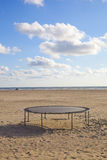 Empty trampoline at beach Royalty Free Stock Photography
