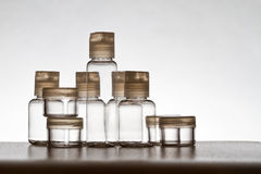 Empty transparent bottles Royalty Free Stock Image