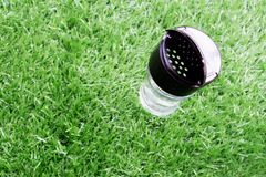 Empty transparent glass bottle of pepper. Set up on the artificial grass royalty free stock image