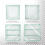 Empty Transparent Glass Box Cube Set Vector. For Exhibition And Presentation. Empty Transparent Glass Box Cube Vector. Realistic Cube Stock Image