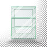 Empty Transparent Glass Box Cube Vector. 3D Realistic Glass Showcase With Shelves. Empty Transparent Glass Box Cube Vector. Realistic Cube Stock Photo