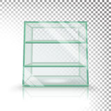 Empty Transparent Glass Box Cube Vector. 3D Realistic Glass Showcase With Shelves. Empty Transparent Glass Box Cube Vector. Realistic Cube Stock Images