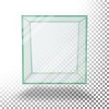 Empty Transparent Glass Box Cube Vector. Isolated On Transparent Checkered Sheet. Empty Transparent Glass Box Cube Vector. Realistic Cube Royalty Free Stock Image