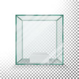 Empty Transparent Glass Box Cube Vector. Realistic Cube. Glass Showcase. Empty Transparent Glass Box Cube Vector. Realistic Cube Stock Images