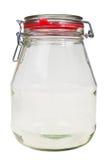 Empty, transparent glass jar. royalty free stock photography