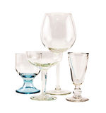 Empty transparent glasses for cocktails and wine on a white background Stock Photography