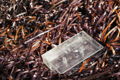 Empty Audio Cassette Box on Magnetic Audio Tape Royalty Free Stock Image