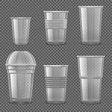 Empty transparent plastic disposable cups. Takeaway drink containers isolated vector set. Illustration of plastic container, disposable transparent for drink stock illustration
