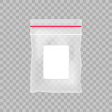Empty transparent plastic pocket bag. Blank vacuum zipper bag  on the transparent background. Vector illustration.  Stock Images