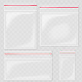 Empty Transparent Plastic Pocket Bags. Blank vacuum zipper bag. polythene container set on the transperant background. Royalty Free Stock Photos